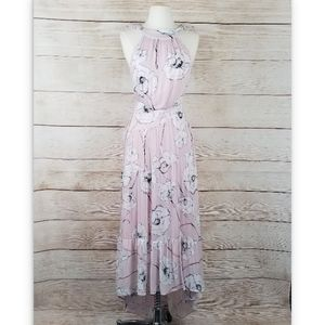 Skylar+Madison Pink Floral Ruffle Maxi Dress